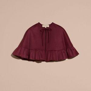 Burberry ruffle hem cashmere cape burgundy